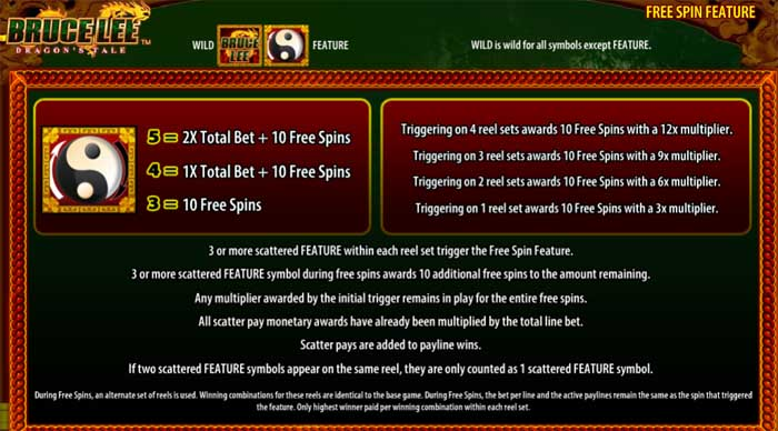 bruce lee dragons tale free spins feature