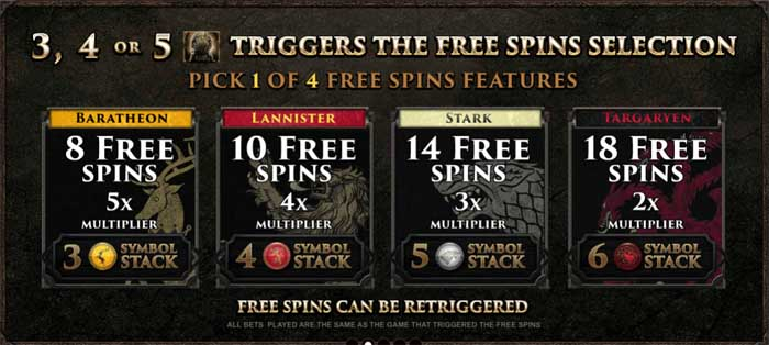 game of thrones slot free spins feature