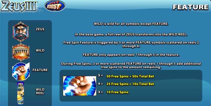 zeus 3 special features