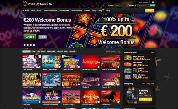 energy casino review screenshot