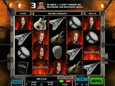 megadeth online slot from leander games