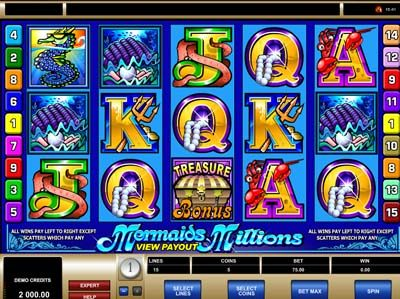 mermaid millions microgaming slot