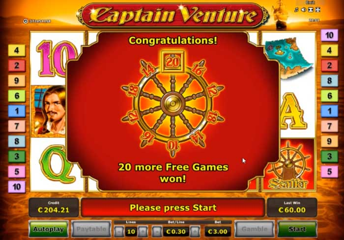 captain venture free spins