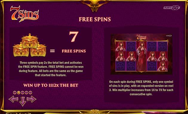 7 sins slot free spins
