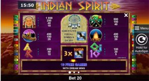 indian spirit slot paytable
