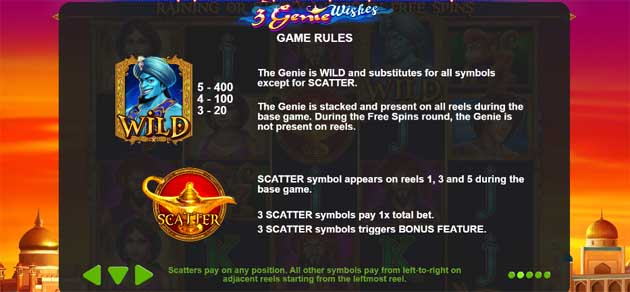 3 genie wishes slot game rules