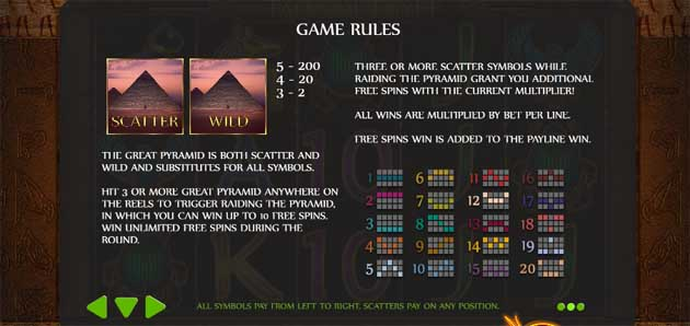 tales of egypt slot bonus rules