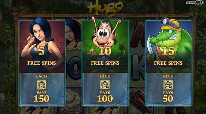 hugo online slot free spins bonus feature explained