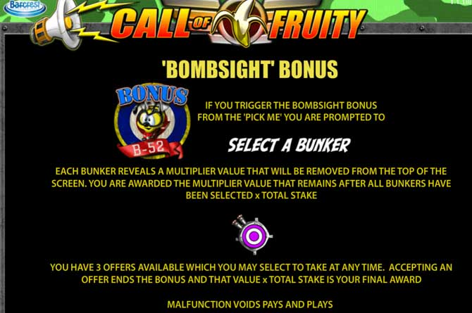 call of fruity bombsight feature