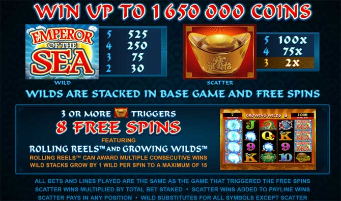 emperor of the sea online slot bonus features explained