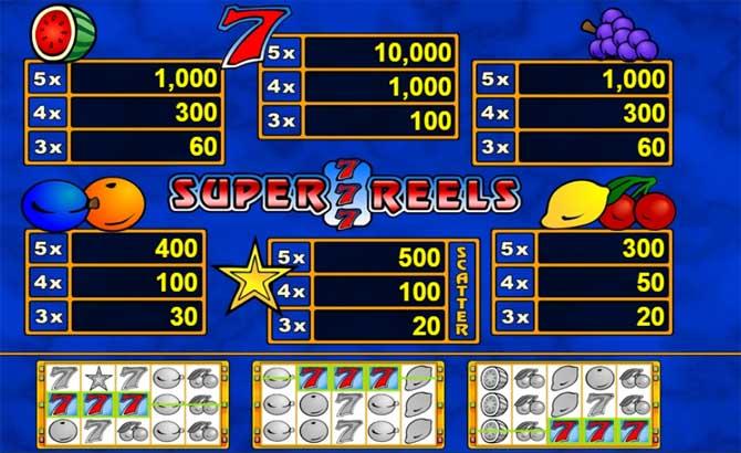 super 7 reels online slot paytable
