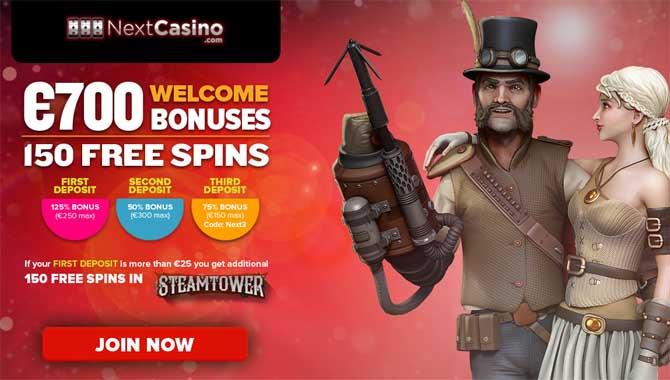 welcome bonus at next casino