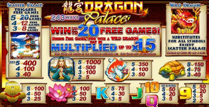 dragon palace online slot paytable