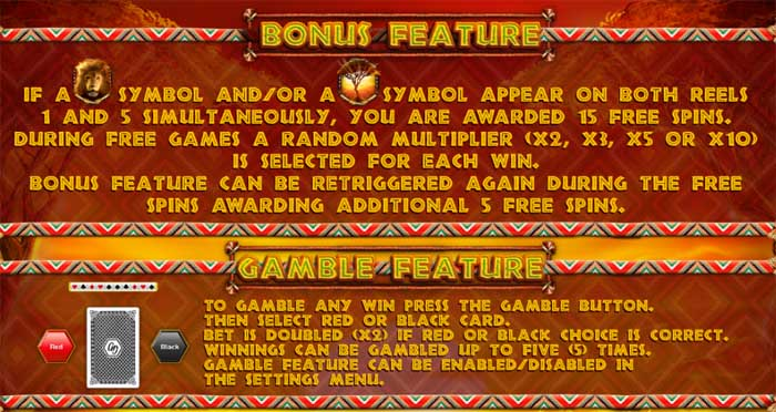 african sunset slot bonus feature
