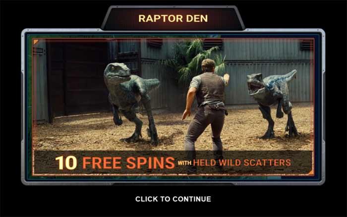 jurassic world raptor den bonus