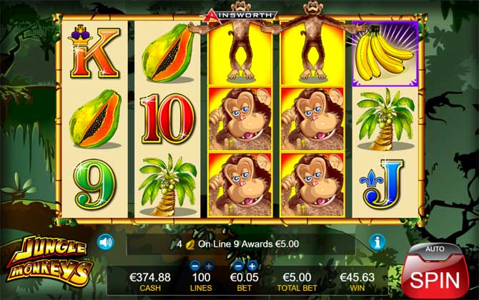 jungle monkeys online slot by ainsworth