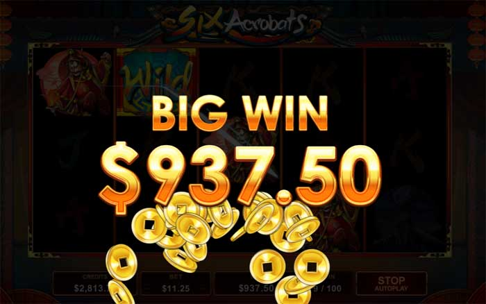 six acrobats online slot with big win