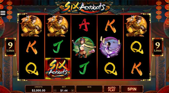 six acrobats slot by microgaming