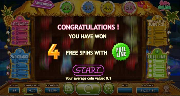 spina colada slot free spins bonus feature