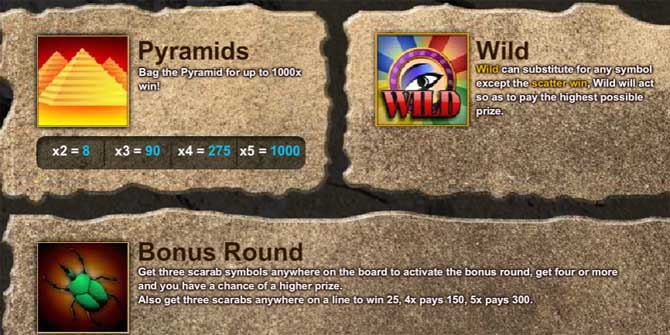 treasire of the pyramids online slot bonus features