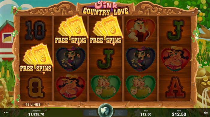 oink country love freespins bonus feature