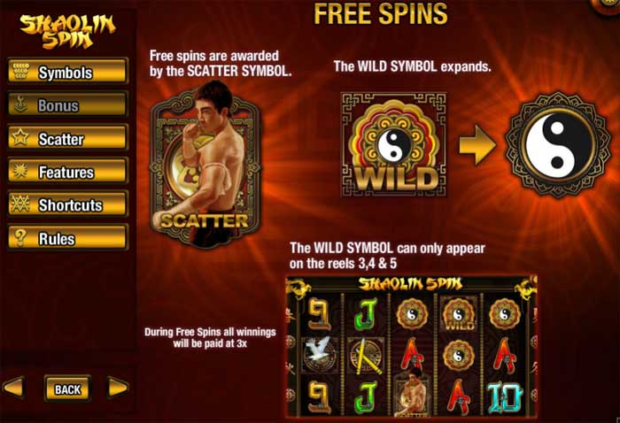 shaolin spin free spins bonus feature
