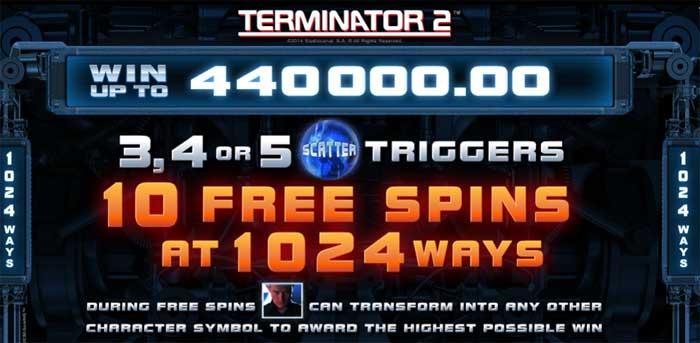 terminator 2 free spins
