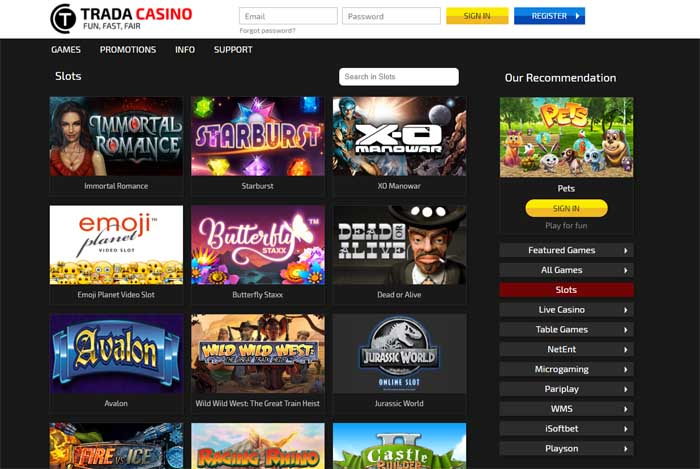 trada casino game selection