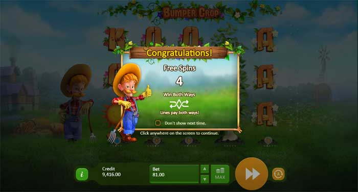 bumper crop free spins