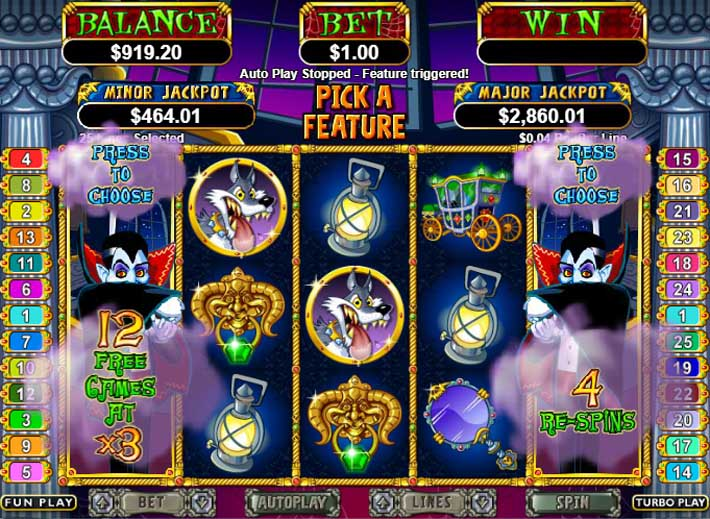 count spectacular slot free spins bonus feature