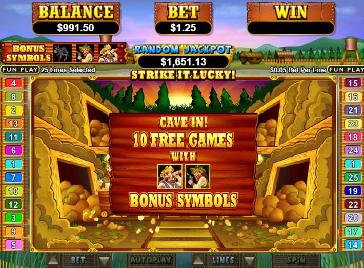 paydirt slot bonus feature