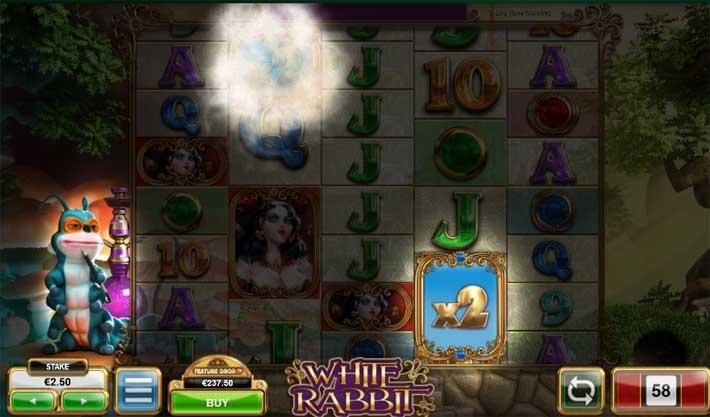 white rabbit slot caterpillar random bonus feature